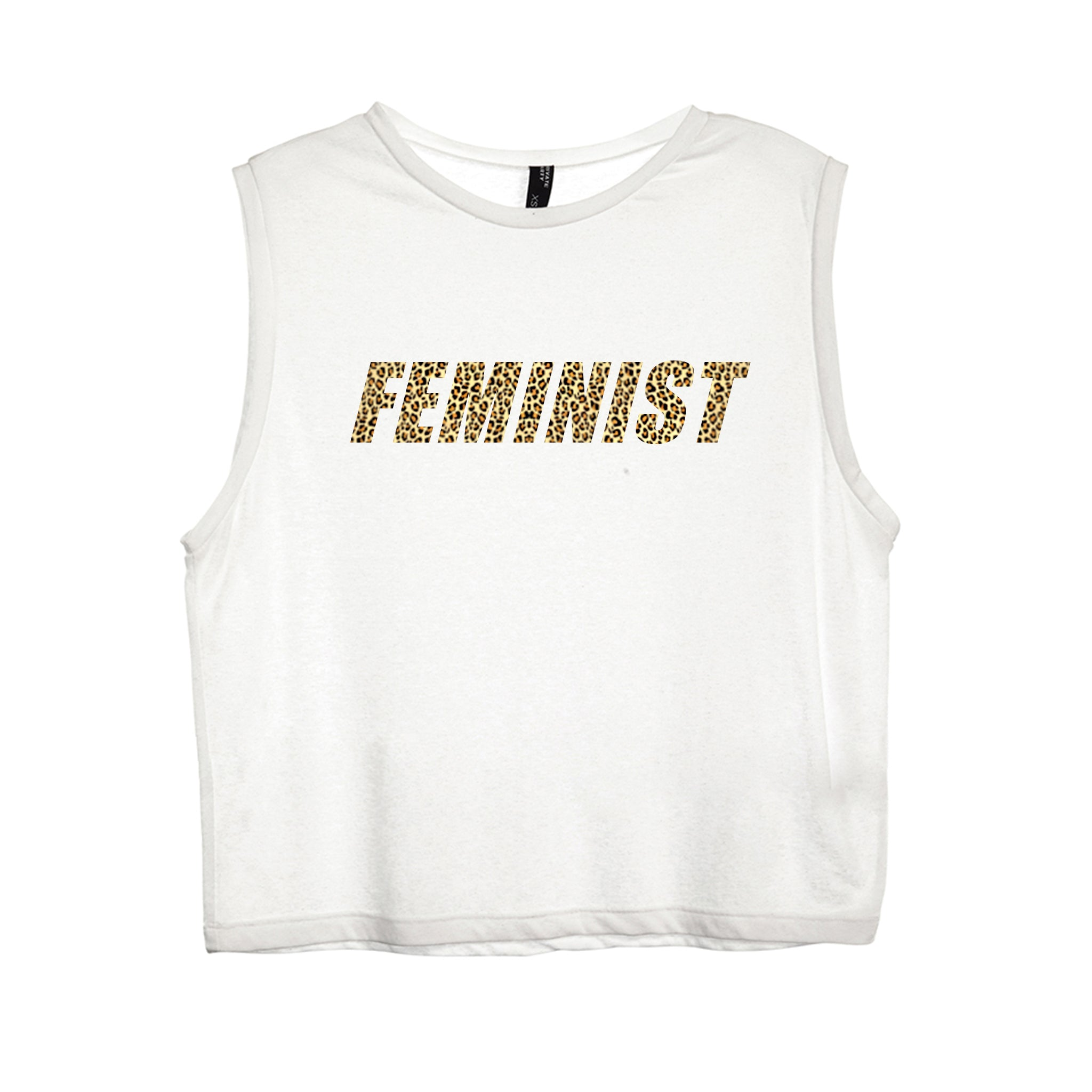 FEMINIST W/ CHEETAH TEXT [WOMEN'S MUSCLE TANK]