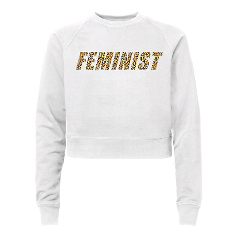 FEMINIST W/ CHEETAH TEXT [WOMEN'S RAGLAN CROP CREWNECK SWEATSHIRT]