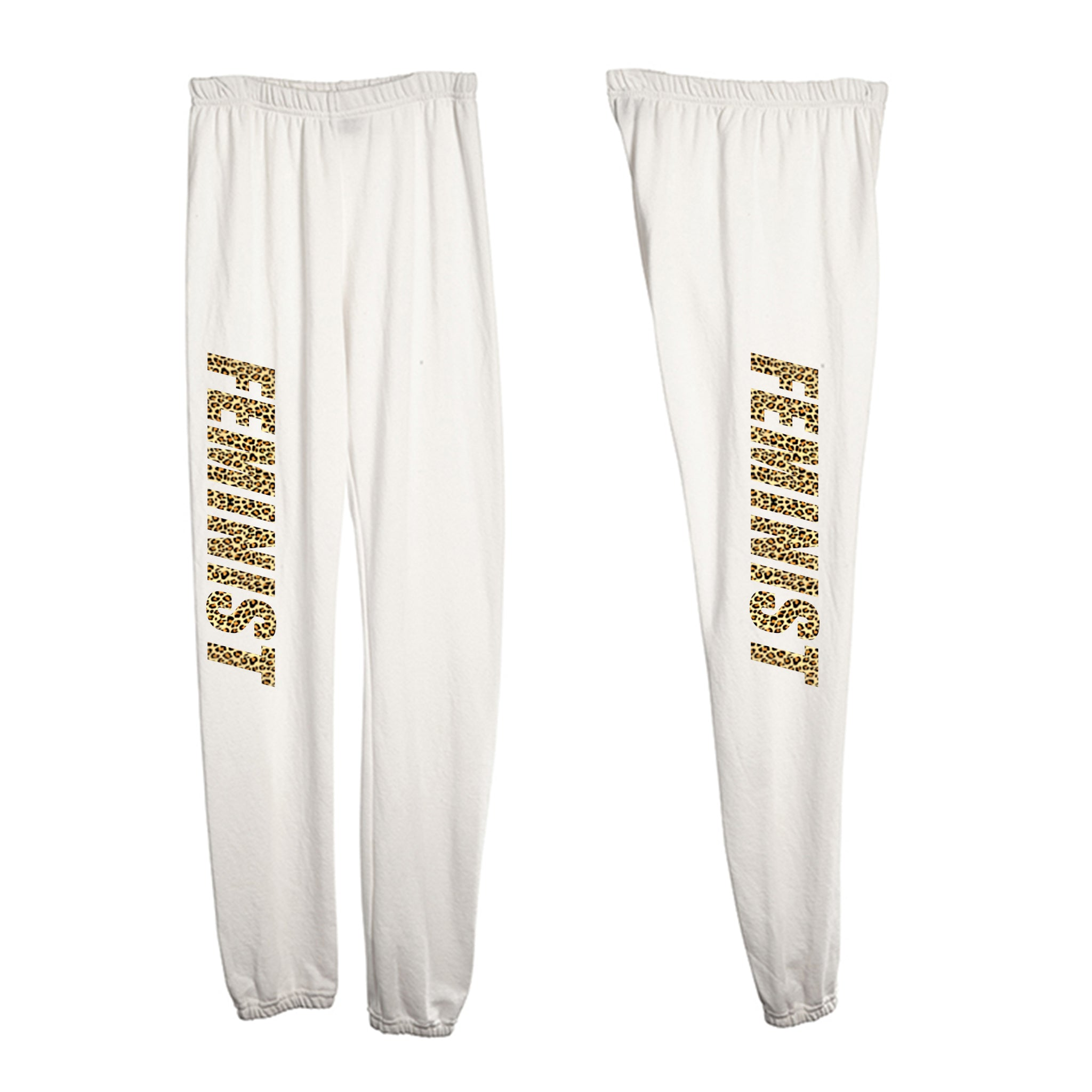 FEMINIST W/ CHEETAH TEXT [WOMEN'S SWEATPANTS]
