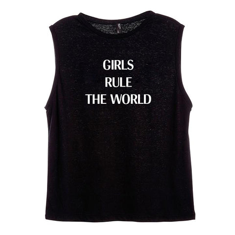 GIRLS RULE THE WORLD [WOMEN'S MUSCLE TANK]