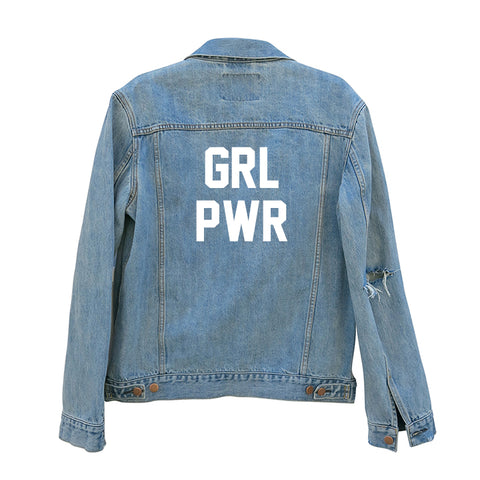 GRL PWR [UNISEX DISTRESSED JEAN JACKET]