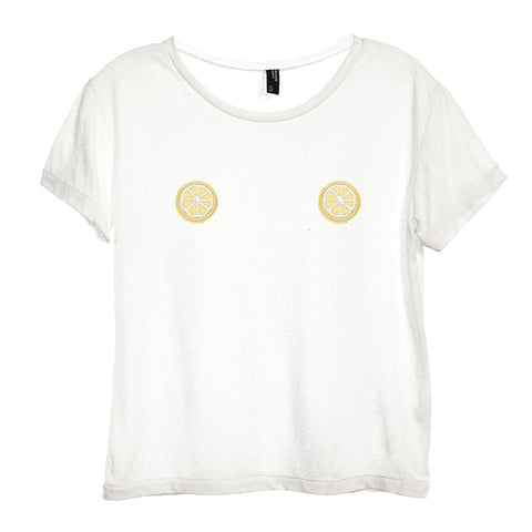 LEMON SLICE PATCHES  [DISTRESSED WOMEN'S 'BABY TEE']