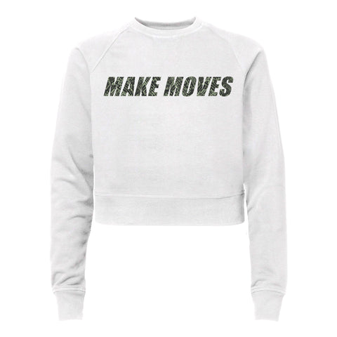 MAKE MOVES W/ SNAKESKIN TEXT [WOMEN'S RAGLAN CROP CREWNECK SWEATSHIRT]