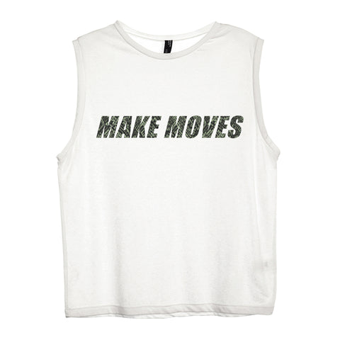 MAKE MOVES W/ SNAKESKIN TEXT [WOMEN'S MUSCLE TANK]