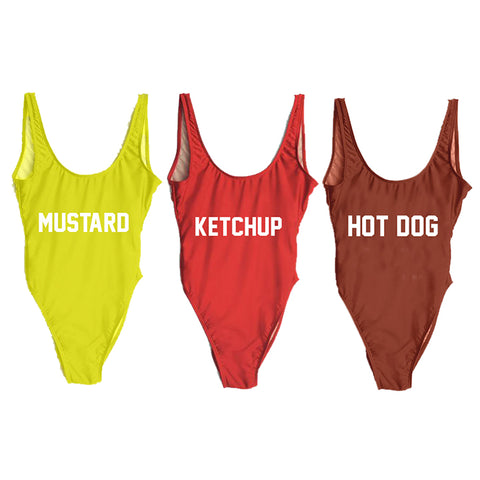 KETCHUP, MUSTARD, & HOT DOG [3 PACK DISCOUNT SWIMSUITS]