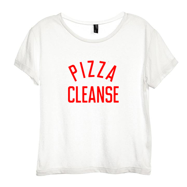 PIZZA CLEANSE [DISTRESSED WOMEN'S 'BABY TEE']