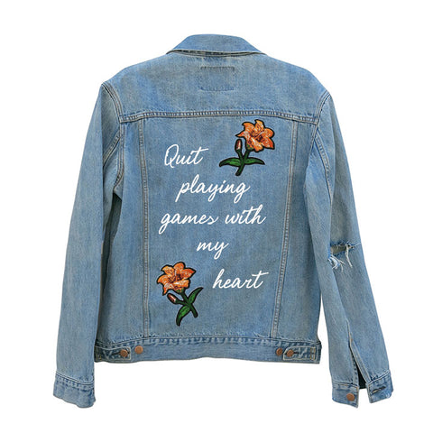 QUIT PLAYING GAMES WITH MY HEART [UNISEX DISTRESSED JEAN JACKET W/ LILY PATCHES]