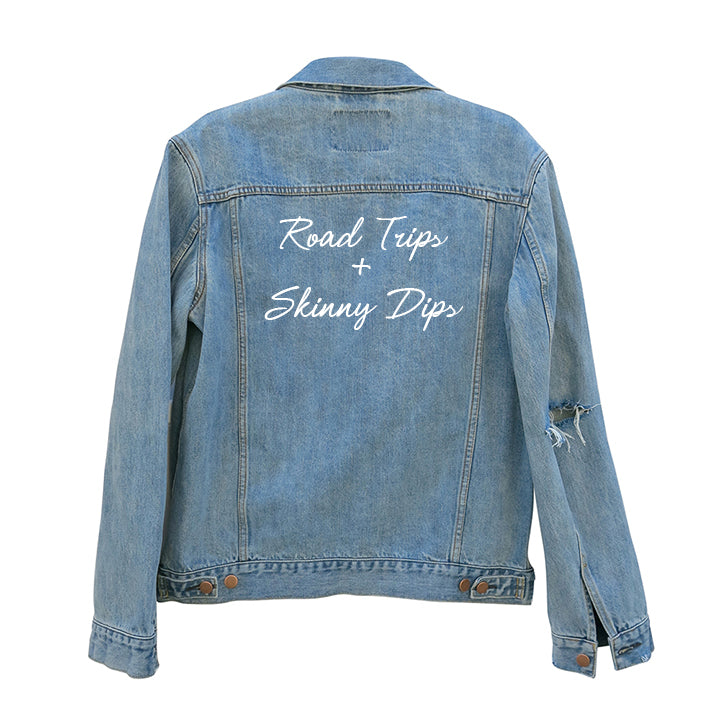ROAD TRIPS + SKINNY DIPS [UNISEX DISTRESSED JEAN JACKET]