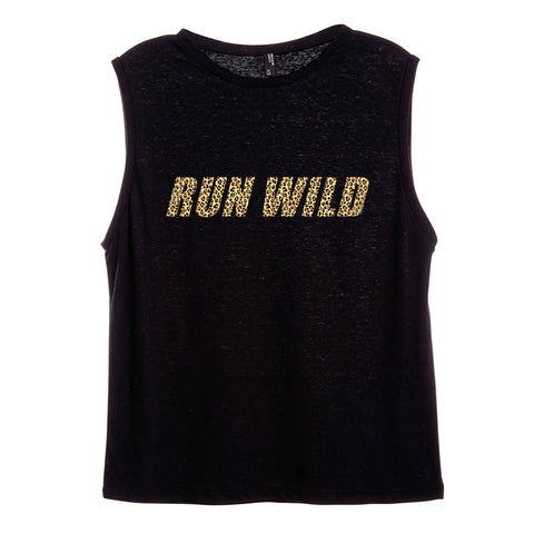 RUN WILD W/ CHEETAH TEXT [WOMEN'S MUSCLE TANK]