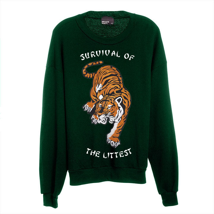 SURVIVAL OF THE LITTEST [UNISEX CREWNECK SWEATSHIRT W/ TIGER PATCH]