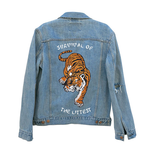 SURVIVAL OF THE LITTEST [UNISEX DISTRESSED JEAN JACKET W/ TIGER PATCH]