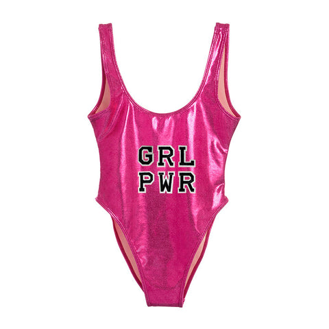 GRL PWR [FELT LETTER PATCH METALLIC SWIMSUIT]