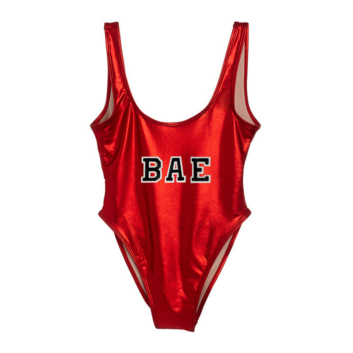 BAE [FELT LETTER PATCH METALLIC SWIMSUIT]