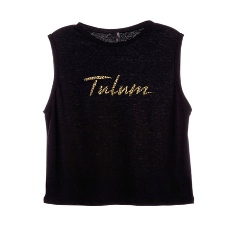 TULUM W/ CHEETAH TEXT [WOMEN'S MUSCLE TANK]