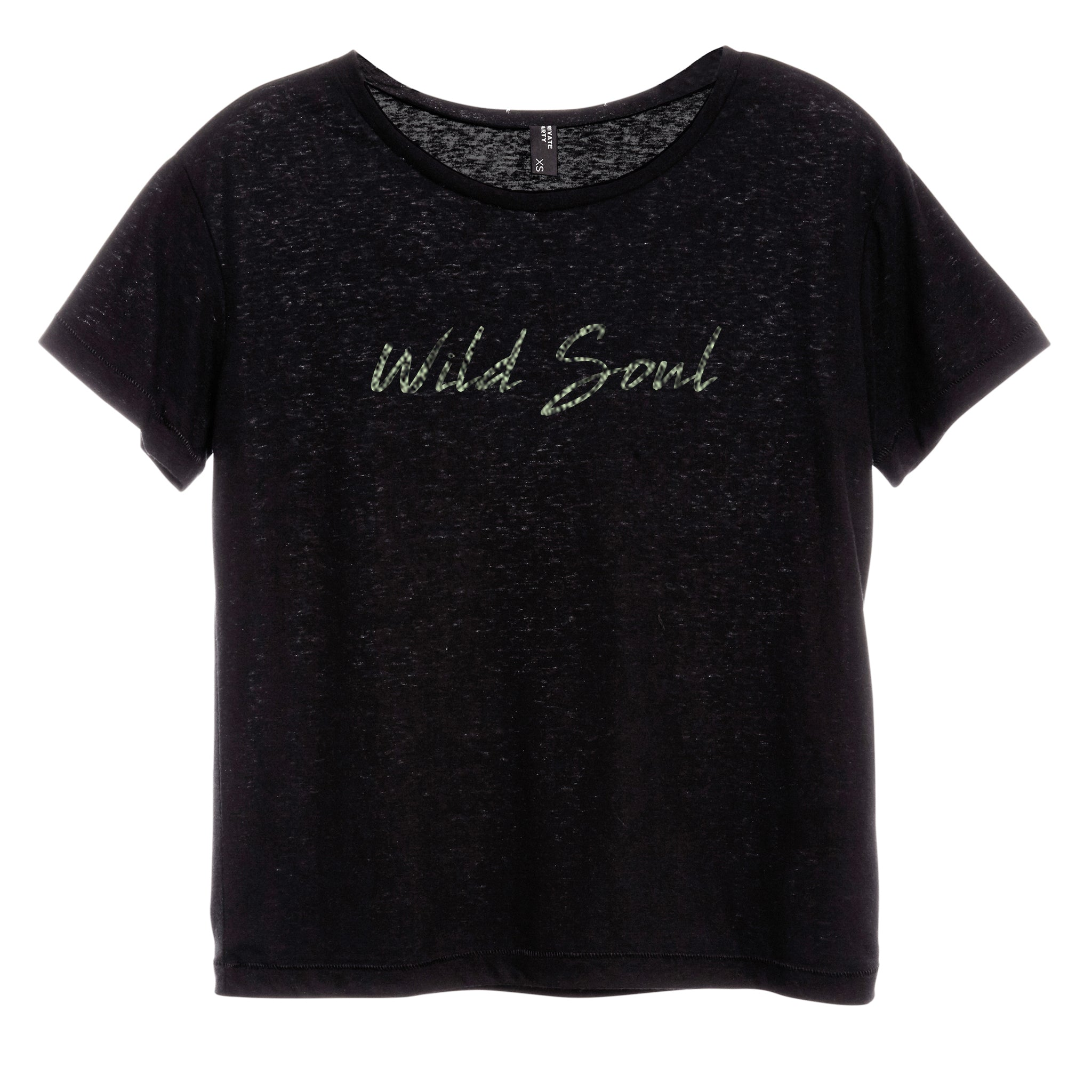 WILD SOUL W/ SNAKESKIN TEXT [DISTRESSED WOMEN'S 'BABY TEE']