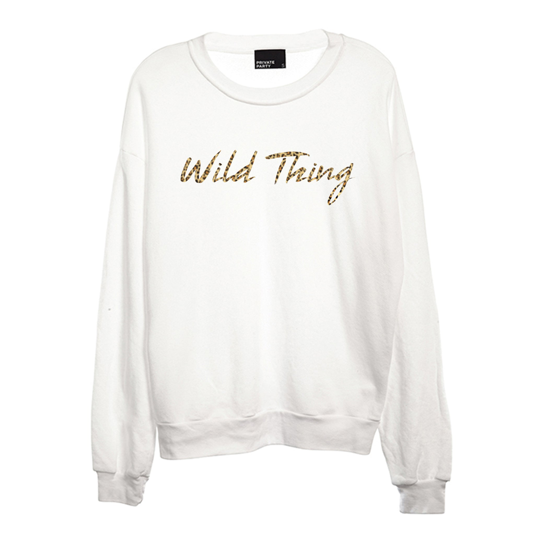 WILD THING W/ CHEETAH TEXT  [CREWNECK SWEATSHIRT]