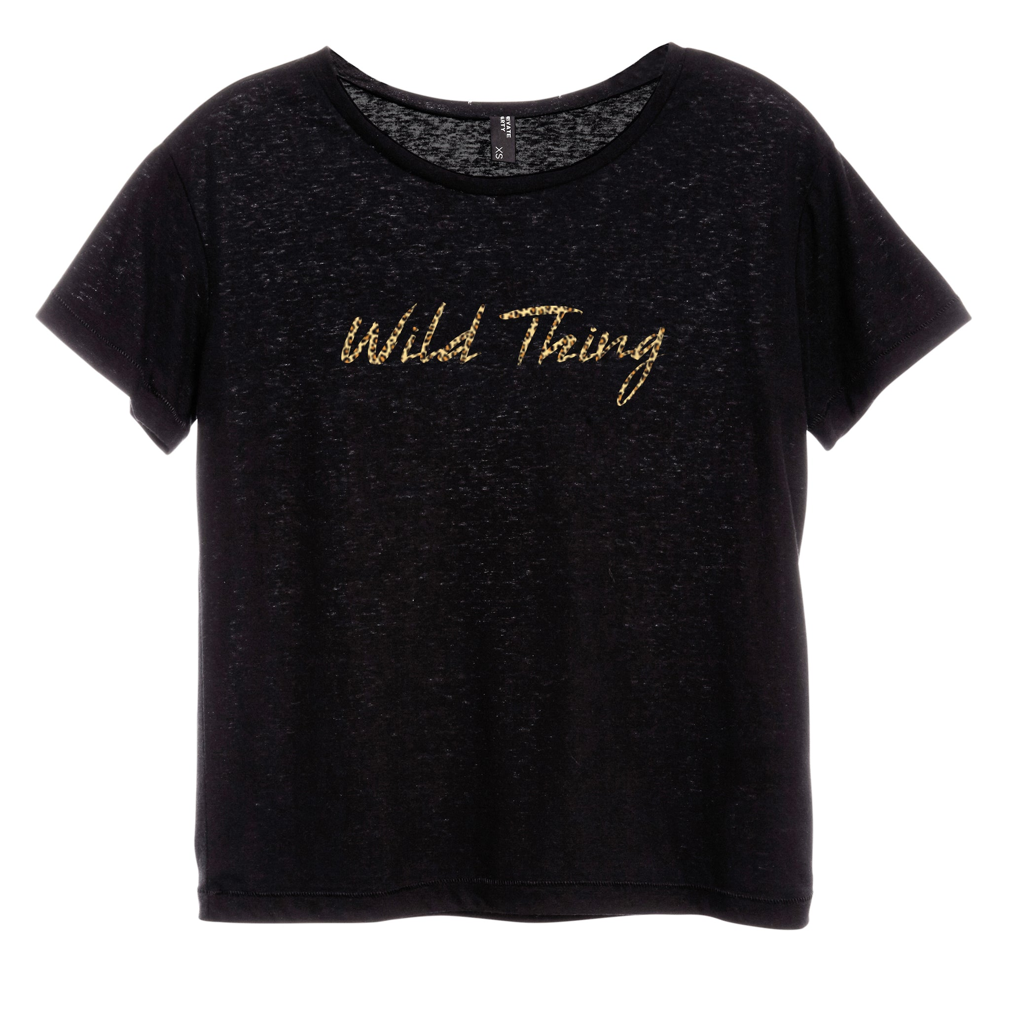 WILD THING W/ CHEETAH TEXT [DISTRESSED WOMEN'S 'BABY TEE']