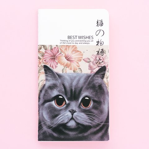 Libreta Best Wishes/Gato con Flores