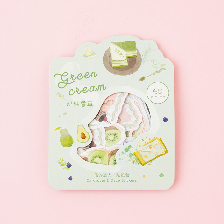 Deco stickers green cream