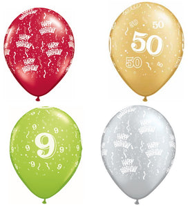 Birthday and Age Printed Balloons