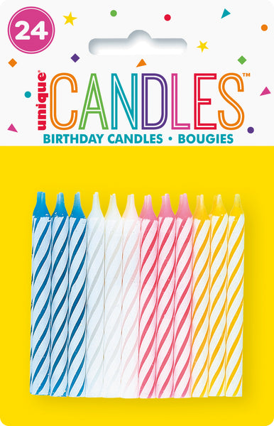 multi-colour spiral candles 24 per package