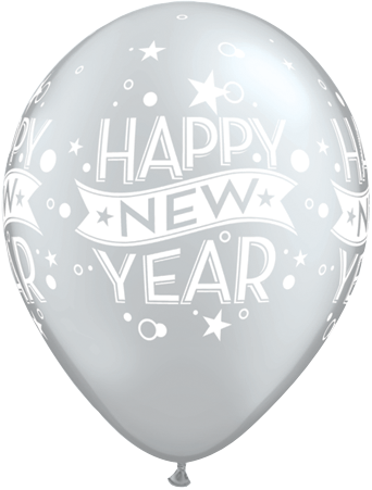 Silver Happy New Year Printed latex balloons