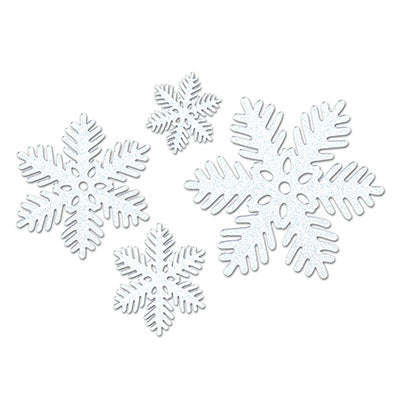 glittered, molded plastic 6 inch snowflakes 4 per package