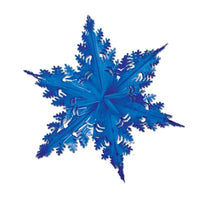blue metallic winter snowflake 24 inches 1 per package