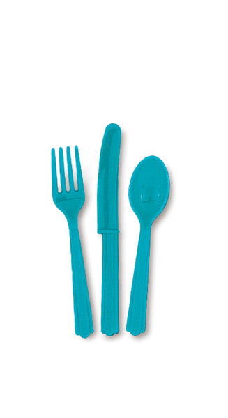 Caribbean Teal Assorted Plastic Cutlery