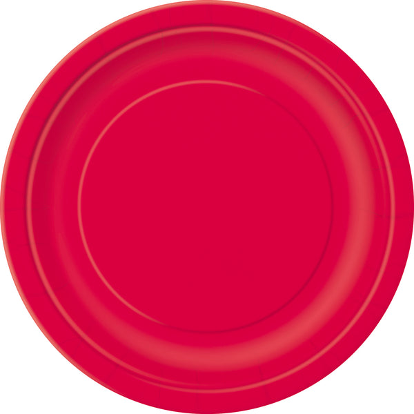 red 9 inch round dinner plates
