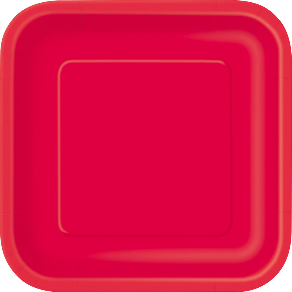 Red Square dessert paper Plates
