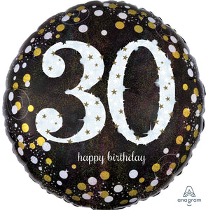 Sparkling birthday 30 holographic 18 inch foil balloon