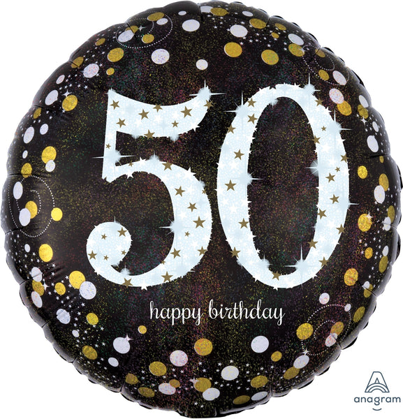 50th Birthday holographic foil balloon