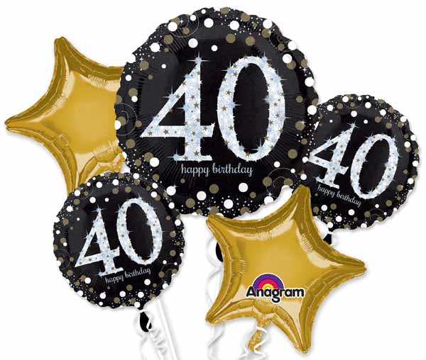 40th Holographic Helium foil balloon bouquet