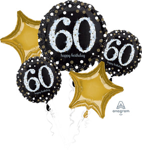 60th sparkling birthday foil balloon bouquet
