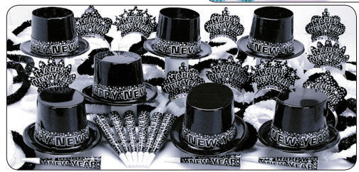 Black Starry Nights New Year's Eve Party kit for 50
