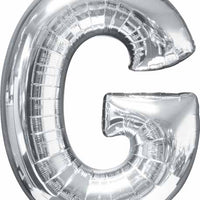 silver foil letter G balloon 34 inch