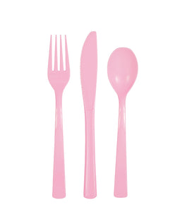 pink assorted plastic cutlery