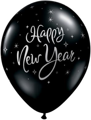 Black New Year printed latex balloon