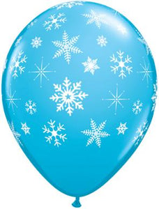 Snowflakes and Sparkle printed latex balloons