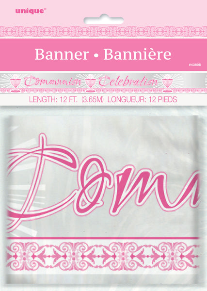 pink radiant cross communion celebration banner, packaged