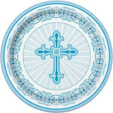 7 inch plates with blue cross design