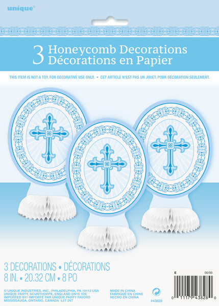 honeycomb centrepiece with blue radiant cross, 3 count