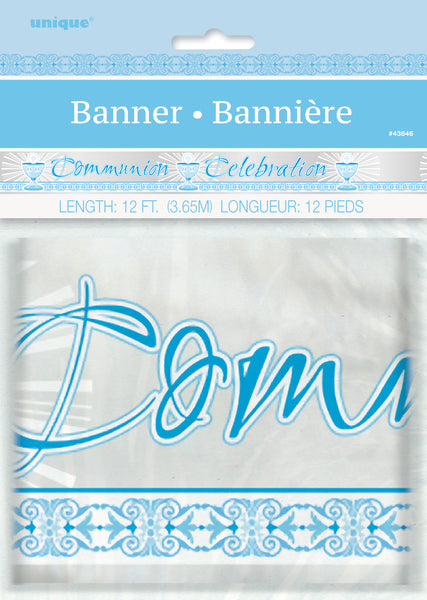 blue radiant cross communion celebration banner, packaged