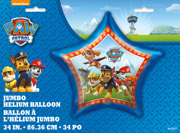 Paw Patrol 34 inch Star Foil Balloon packaged
