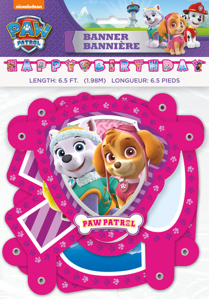Paw Patrol Girl Happy Birthday Banner, 6.5 feet
