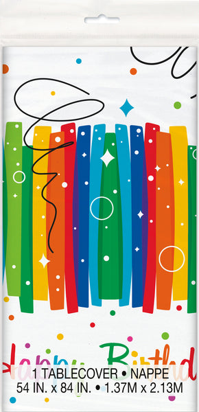 rainbow ribbons plastic tablecover, white with rainbow strips, measures 54 inches by 108 inches 1 per package
