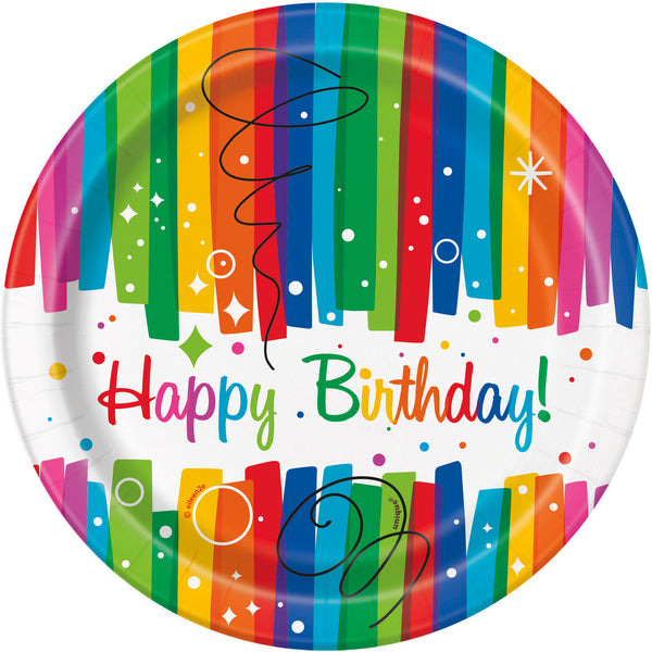 happy birthday 7 inch plates with rainbow strips