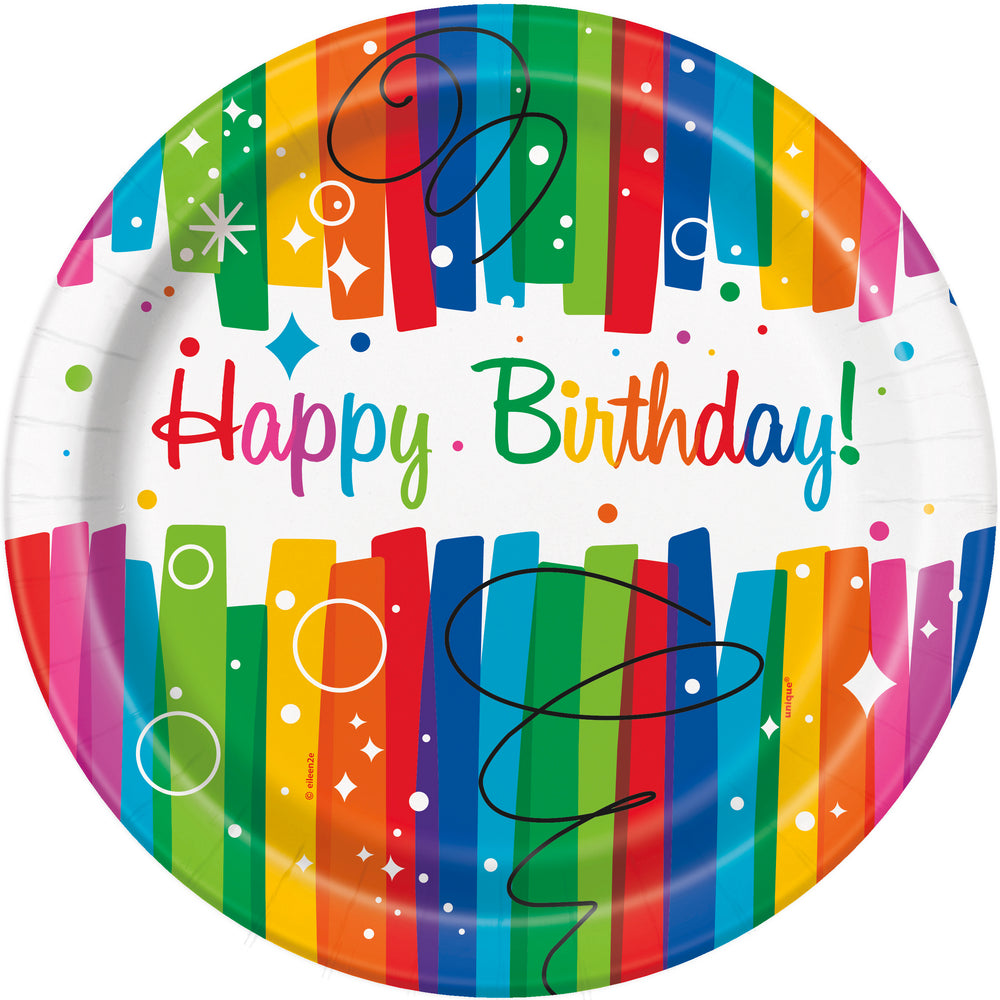 Happy Birthday plates with multi-coloured strips