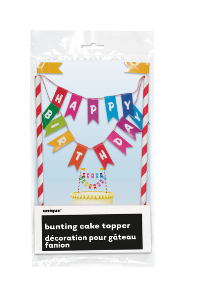 rainbow ribbons bunting cake topper, happy birthday lettering on different coloured flags, 1 per package